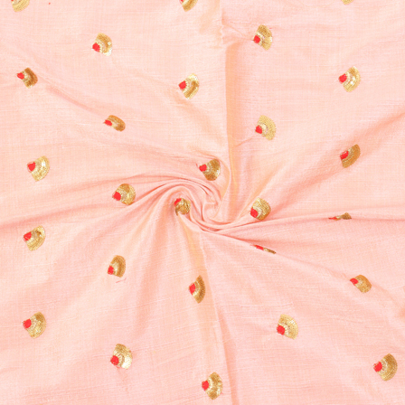 Peach-Golden and Red Small Floral Design Silk Embroidery Fabric-60116