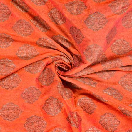 Peach Gray Brocade Silk Floral Fabric-12981