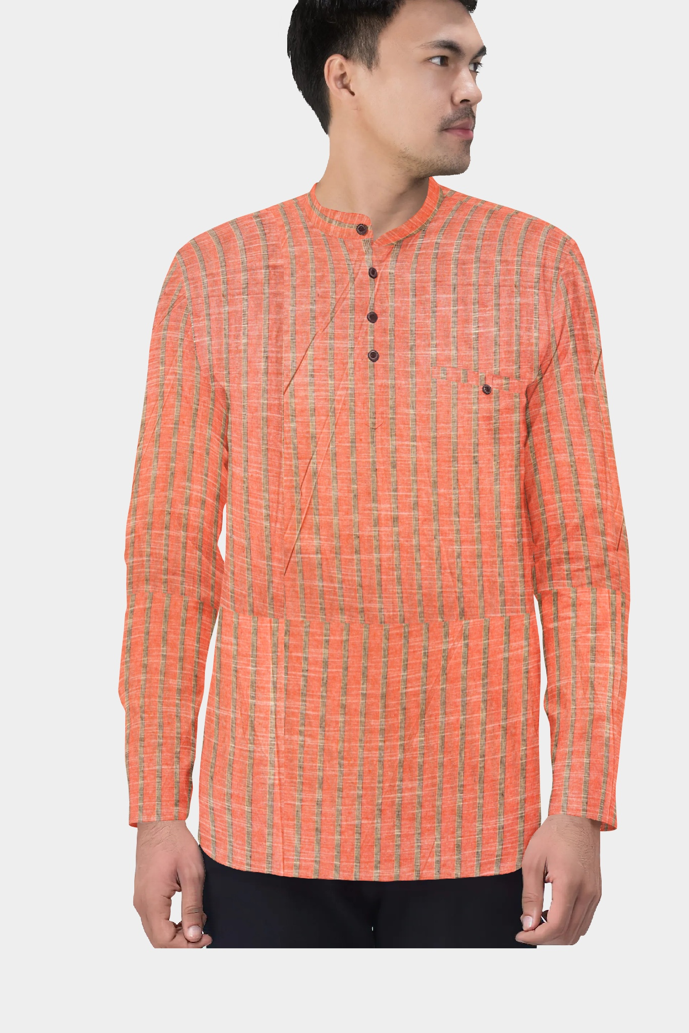 Peach Gray Cotton Striped Short Kurta-35460