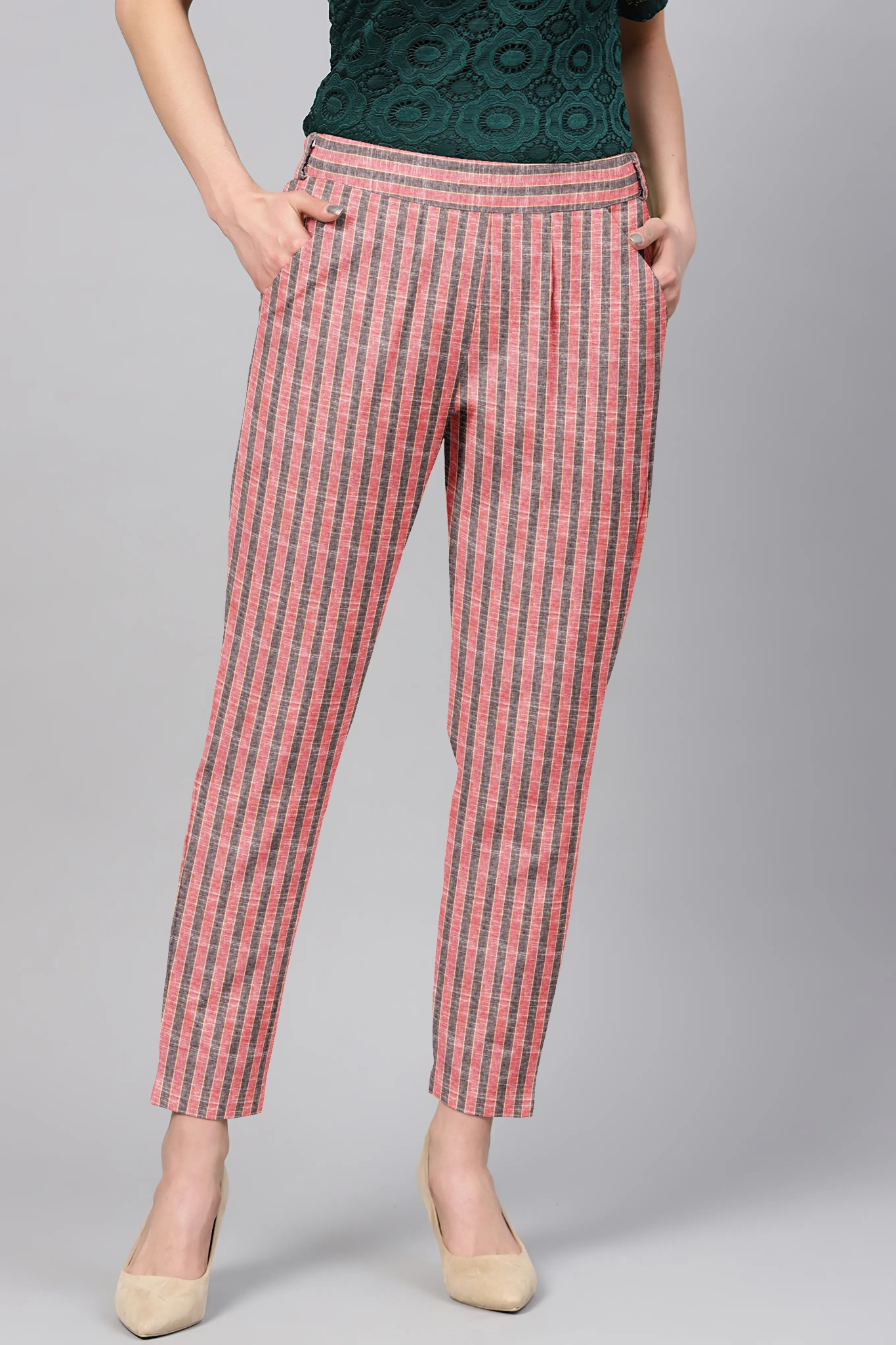 Peach Gray Cotton Stripe Regular Fit Solid Trouser-36108