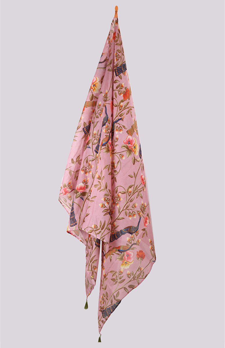 Peach Gray Digital Printed Kota Doria Dupatta with Tassel-33441