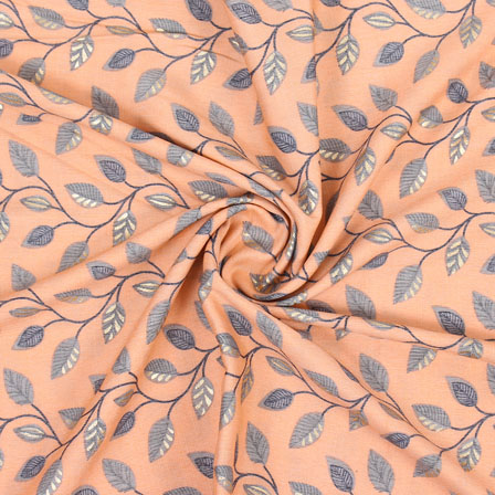 Peach Gray Floral Print Rayon Fabric-15271