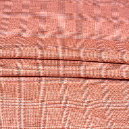 Peach Gray Checks Wool Fabric-90176