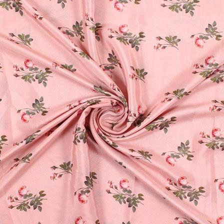Peach Green Crepe Silk Fabric-18163