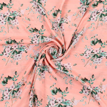 Peach Green Crepe Silk Fabric-18176
