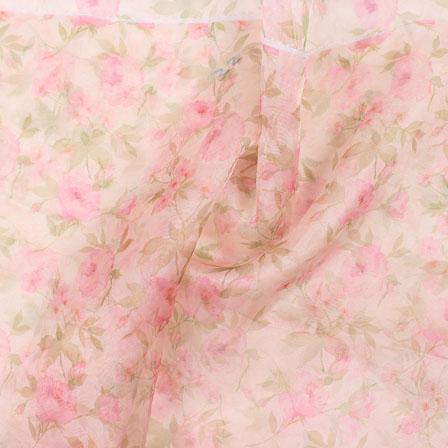 Peach Green Digital Organza Silk Fabric-51602
