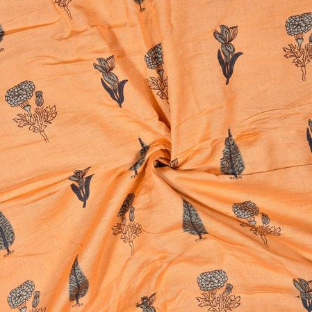 Peach Green Floral Cotton Flex Fabric-28178
