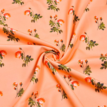 Peach Green Floral Crepe Silk Fabric-41071