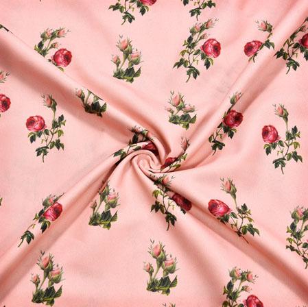 Peach Green Floral Crepe Silk Fabric-41152