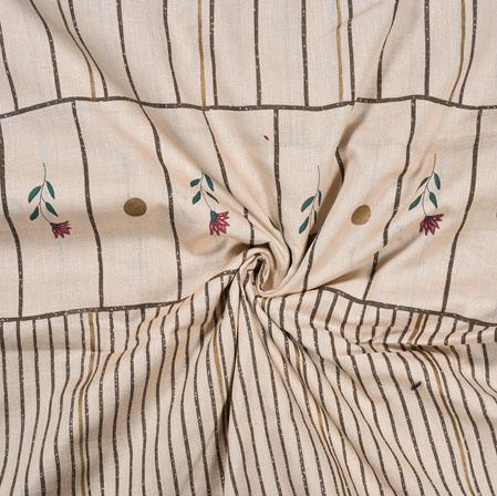 Peach Green Flower Cotton Flex Foil Fabric-28383