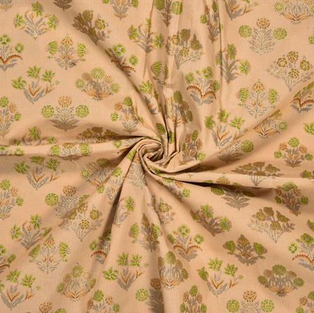 Peach Green Flower Cotton Foil Print Fabric-28320