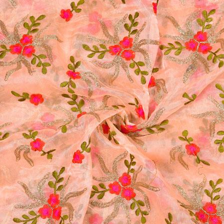 Peach Green Flower Organza Embroidery Fabric-22238