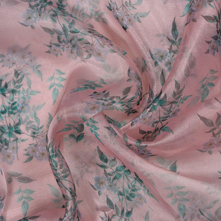 Peach Green Leaf Organza Digital Fabric-22223