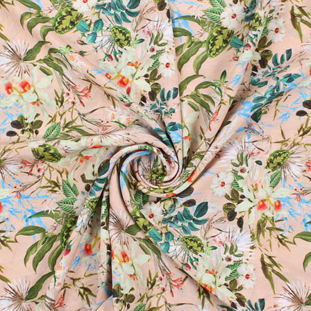 Peach Green and Cream Crepe Silk Fabric-18175