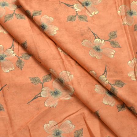 Peach-Green and Golden Floral Design Jam Cotton Silk Fabric-75007