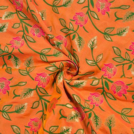 Peach Green and Pink Floral Digial Banarasi Silk Fabric-12023