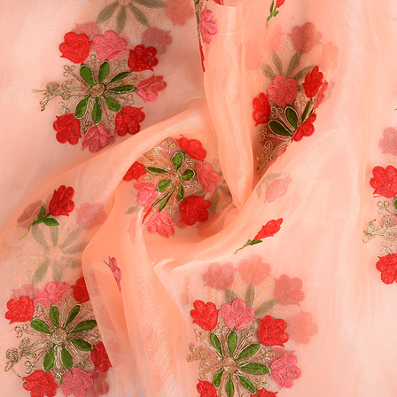 Peach-Green and Red Flower Organza Embroidery Fabric-51134