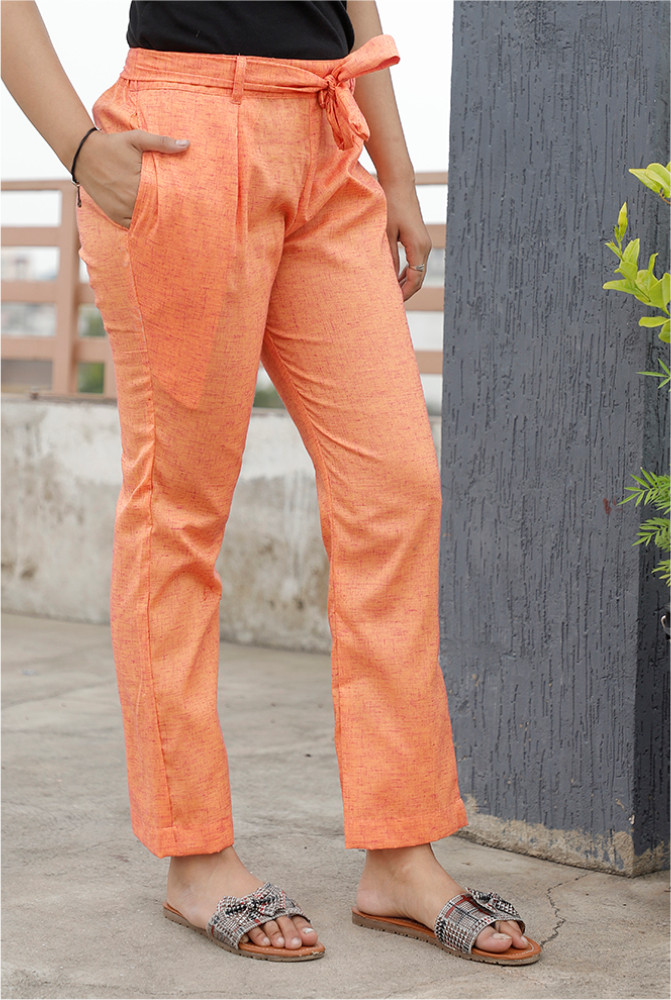 Peach Handloom Cotton 2 Tone Narrow Pant with Belt-33887