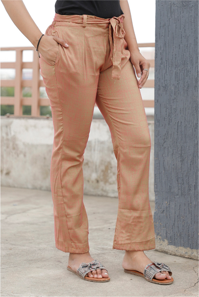 Peach Handloom Cotton 2 Tone Narrow Pant with Belt-33894
