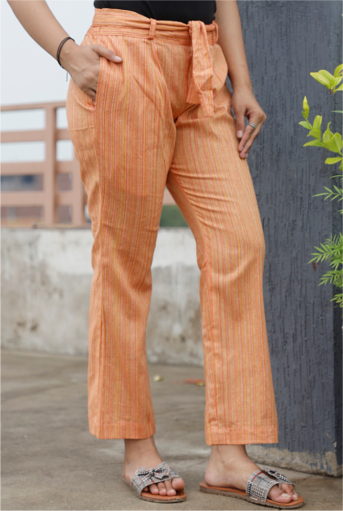 Peach Handloom Cotton Texture Narrow Pant with Belt-33913
