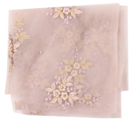 Peach Net Base Fabric With Golden Flower Embroidery -60106