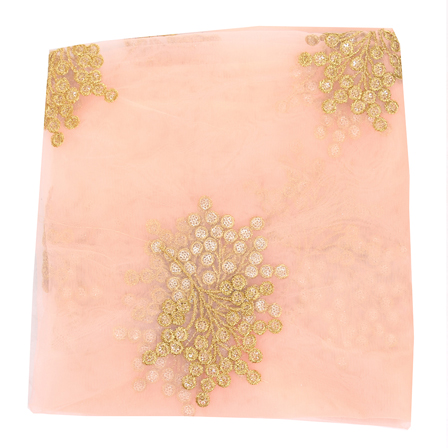 Peach Net Fabric With Golden Flower Embroidery-60820