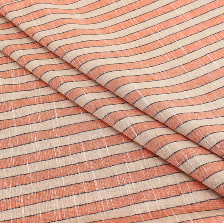 Peach Off White Stripe Handloom Cotton Fabric-40922