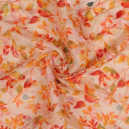 Peach Orange Digital Organza Silk Fabric-51652