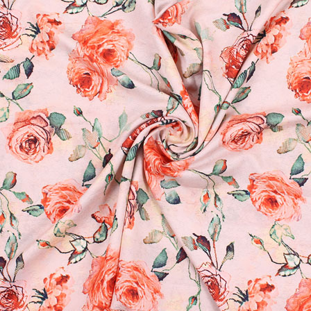 Peach Orange Flower Rayon Fabric-15070
