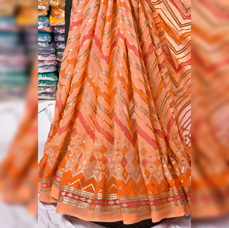 Peach Orange Gota Position Georgette Embroidery Fabric-19126