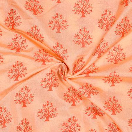 Peach Orange Tree Brocade Banarasi Silk Fabric-12842