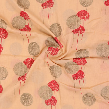 Peach Orange and Golden Foil Print Cotton Fabric-15126