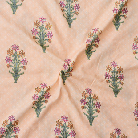 Peach Orange and Green Floral Print Rayon Fabric-15193