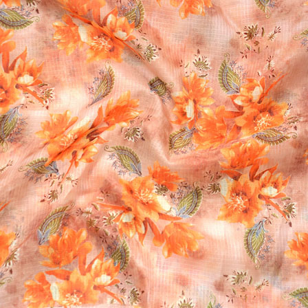 Peach Orange and Green Flower Kota Doria Fabric-25133