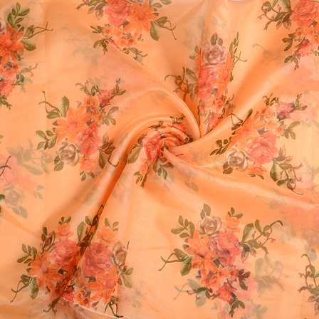 Peach-Orange and Green Flower Organza Silk Fabric-51247