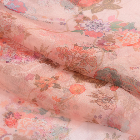 Peach-Orange and Pink Floral Digital Organza Fabric-51234
