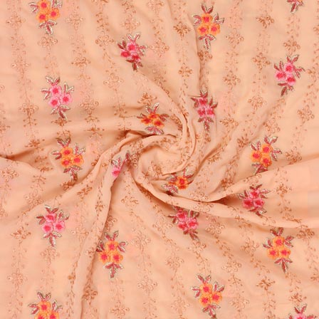 Peach Orange and Pink Floral Print Fox Georgette Embroidery Fabric-15295