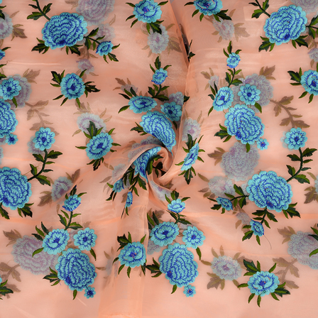 Peach Organza Fabric With Blue and Green Flower Embroidery-50096