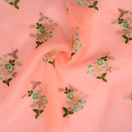 Peach Organza Fabric With Golden and Green Floral Embroidery-51004