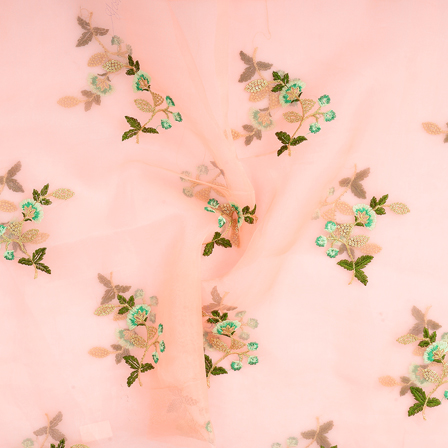 Peach Organza Fabric With Green and Golden Floral Embroidery-51108