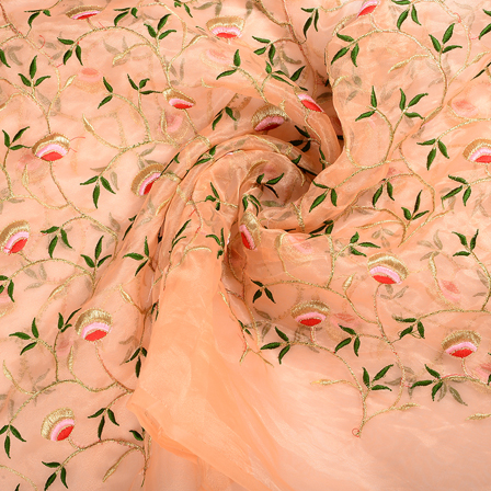 Peach-Organza Fabric With Green and Golden Flower Embroidery-51257