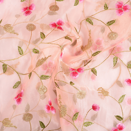 Peach Organza Fabric With Pink and Green Floral Embroidery-50072