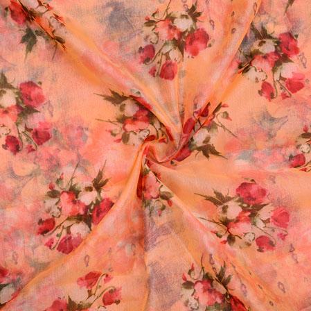 Peach PInk and White Floral Organza Silk Fabric-22332