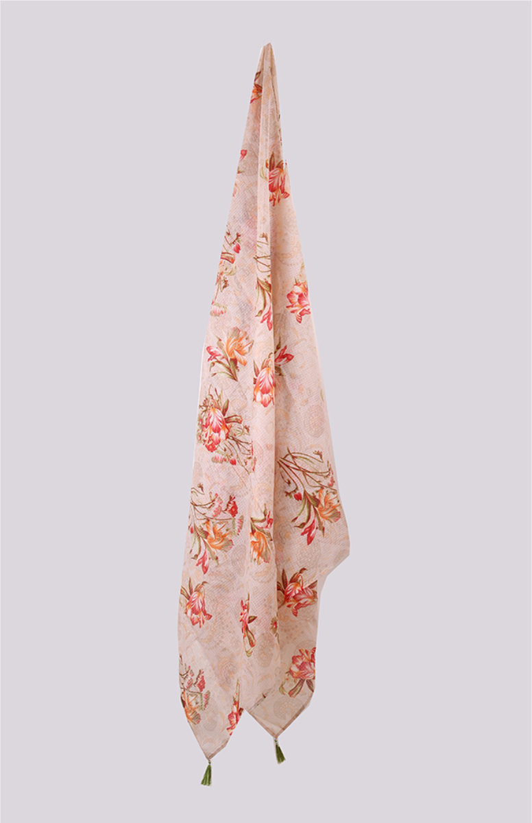 Peach Pink Digital Printed Kota Doria Dupatta with Tassel-33428