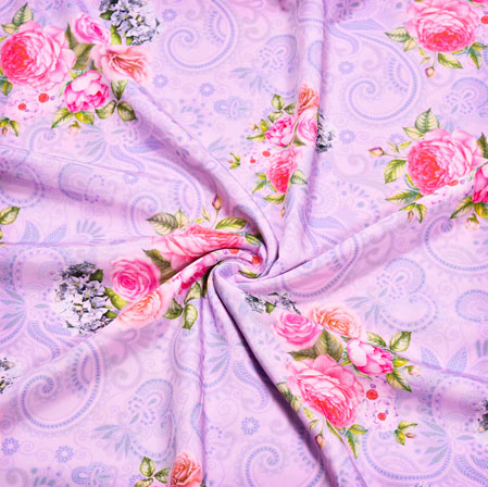 Peach Pink Floral Crepe Silk Fabric-41089