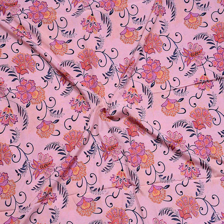 Peach Pink Flower Crepe Silk Fabric-18243