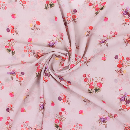 Peach Pink Flower Georgette Silk Fabric-15253
