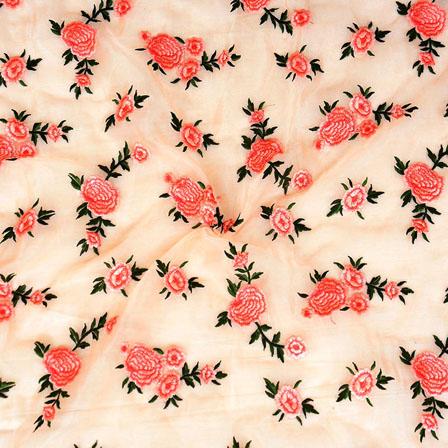 Peach Pink Flower embroidery Organza Silk Fabric-51513