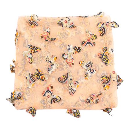 Peach-Pink and Black Butterfly Net Embroidery Fabric-60858