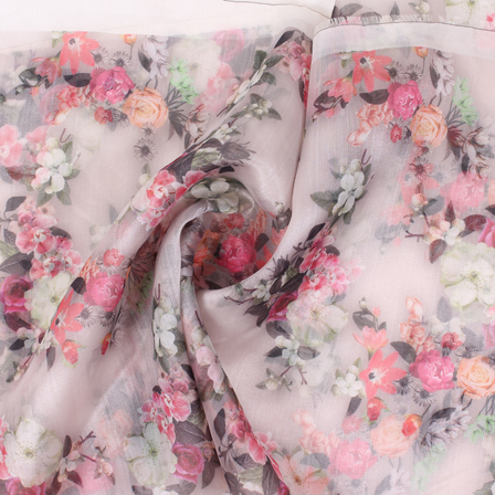 Peach-Pink and Black Flower Organza Digital Print Fabric-51403